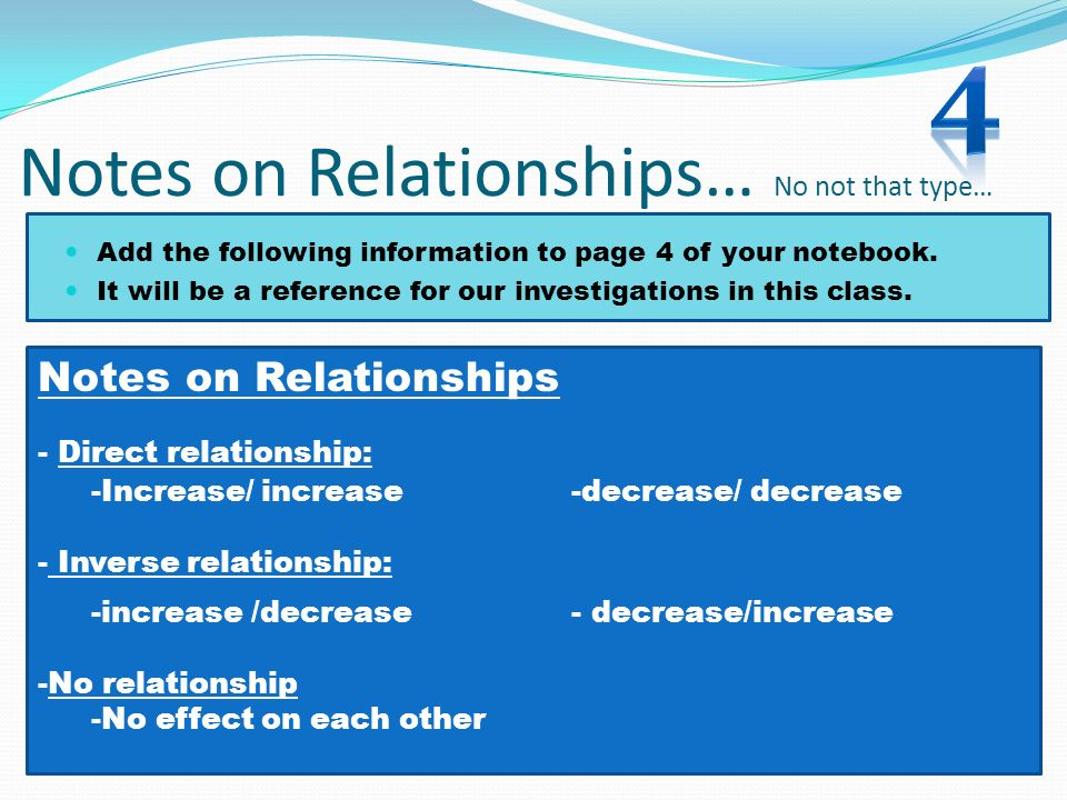 Notes on Relationships… No not that type… Add the following information to page 4 of your notebook. It will be a reference for our investigations in t