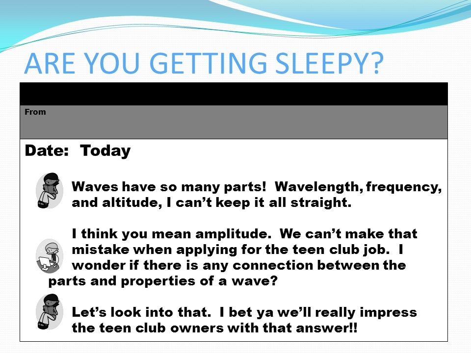INBOX From Date: Today Waves have so many parts! Wavelength, frequency, and altitude, I cant keep it all straight. I think you mean amplitude. We cant