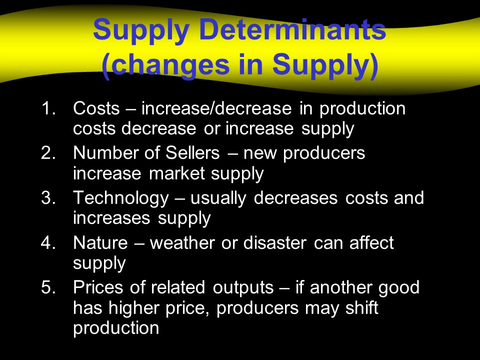 Supply Determinants (changes in Supply) 1.Costs – increase/decrease in production costs decrease or increase supply 2.Number of Sellers – new producer