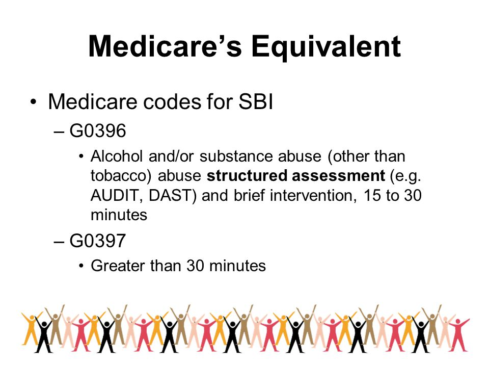 Medicares Equivalent Medicare codes for SBI –G0396 Alcohol and/or substance abuse (other than tobacco) abuse structured assessment (e.g. AUDIT, DAST)