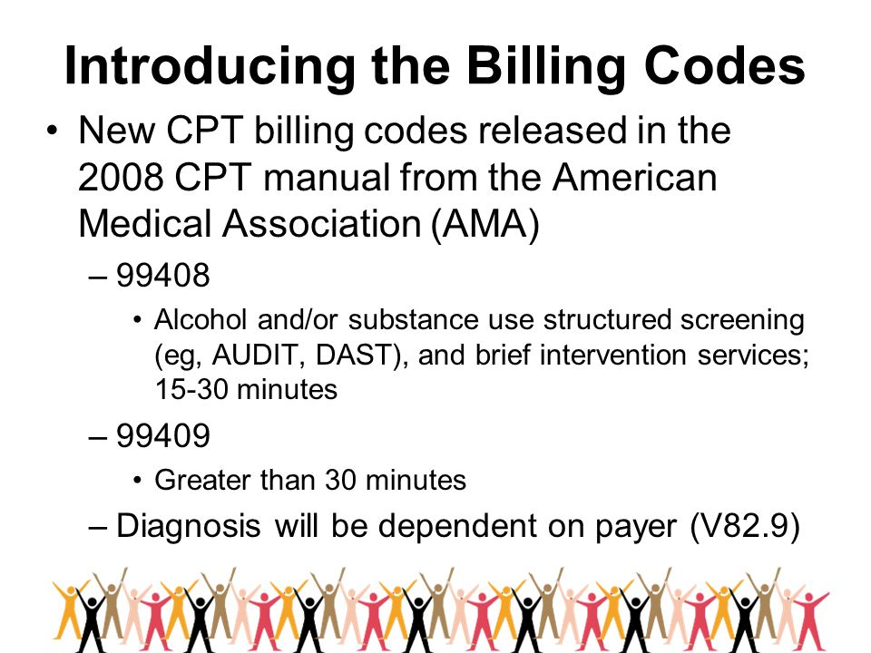 Introducing the Billing Codes New CPT billing codes released in the 2008 CPT manual from the American Medical Association (AMA) –99408 Alcohol and/or