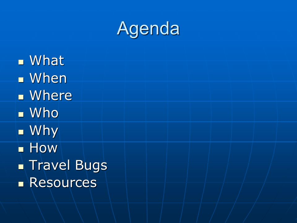 Agenda What What When When Where Where Who Who Why Why How How Travel Bugs Travel Bugs Resources Resources
