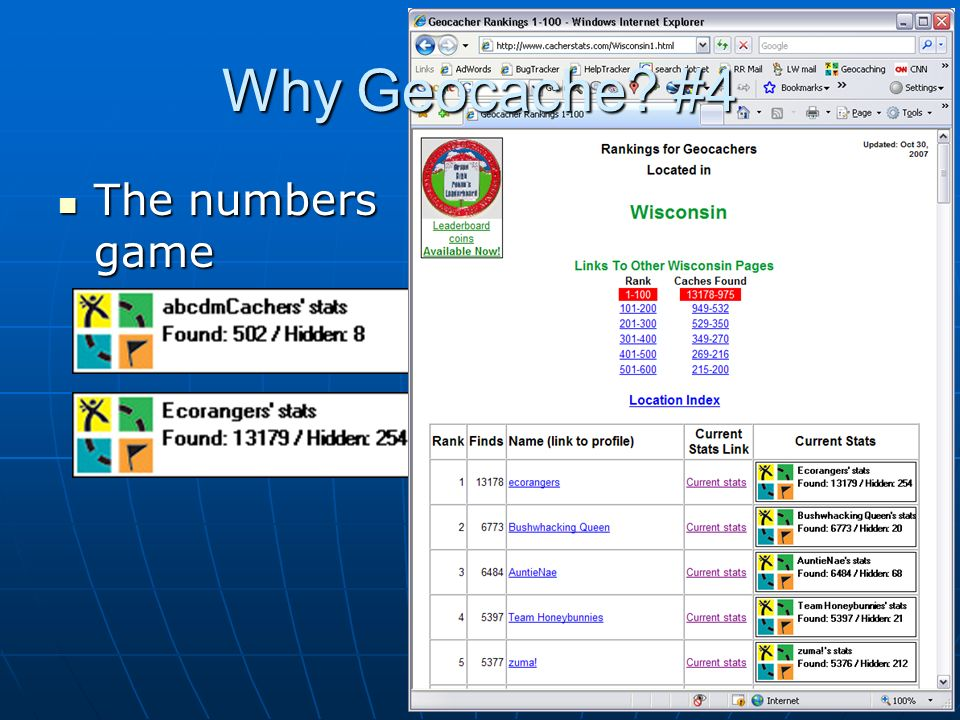 The numbers game The numbers game Why Geocache? #4