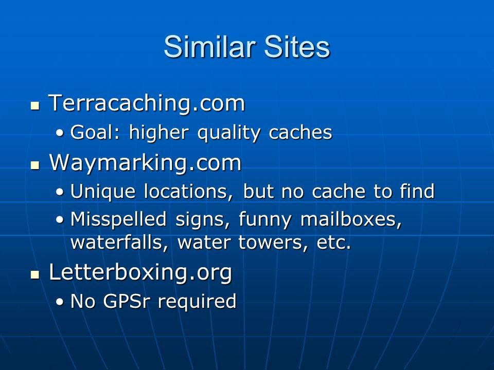 Similar Sites Terracaching.com Terracaching.com Goal: higher quality cachesGoal: higher quality caches Waymarking.com Waymarking.com Unique locations,