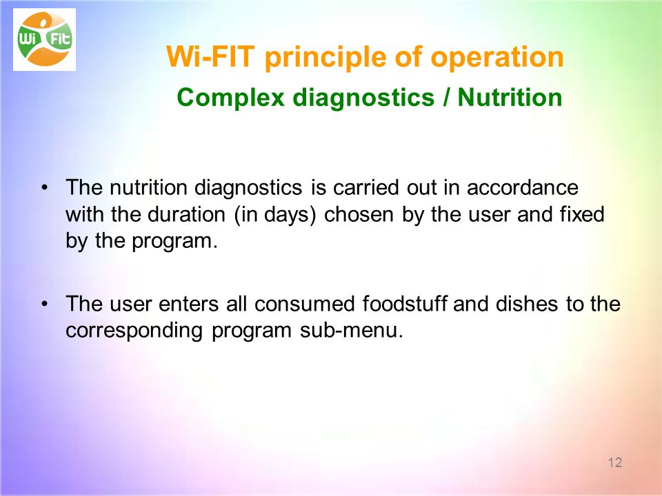 Wi-FIT principle of operation Complex diagnostics / Nutrition The nutrition diagnostics is carried out in accordance with the duration (in days) chosen by the user and fixed by the program.