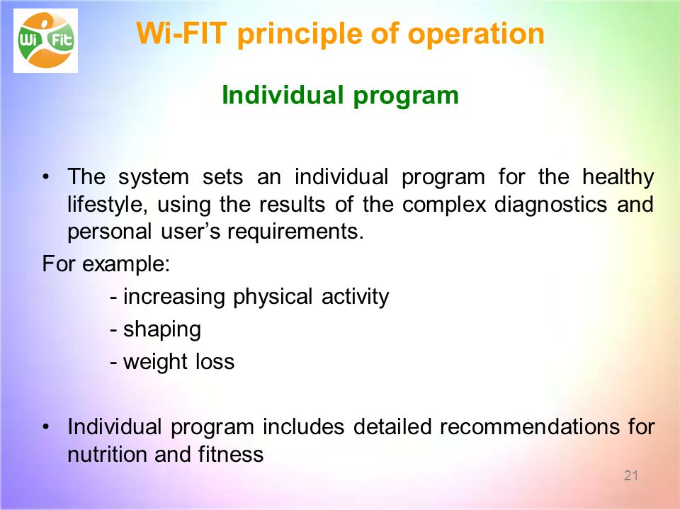 Wi-FIT principle of operation Individual program The system sets an individual program for the healthy lifestyle, using the results of the complex diagnostics and personal users requirements.
