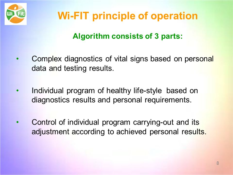 Wi-FIT principle of operation Algorithm consists of 3 parts: Complex diagnostics of vital signs based on personal data and testing results.