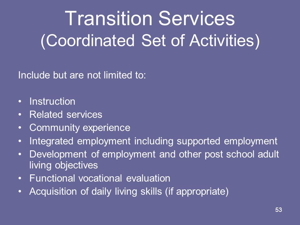 53 Transition Services (Coordinated Set of Activities) Include but are not limited to: Instruction Related services Community experience Integrated em
