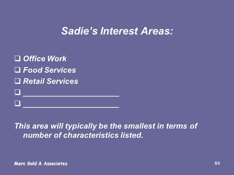 64 Marc Gold & Associates Sadies Interest Areas: Office Work Food Services Retail Services ______________________ This area will typically be the smal