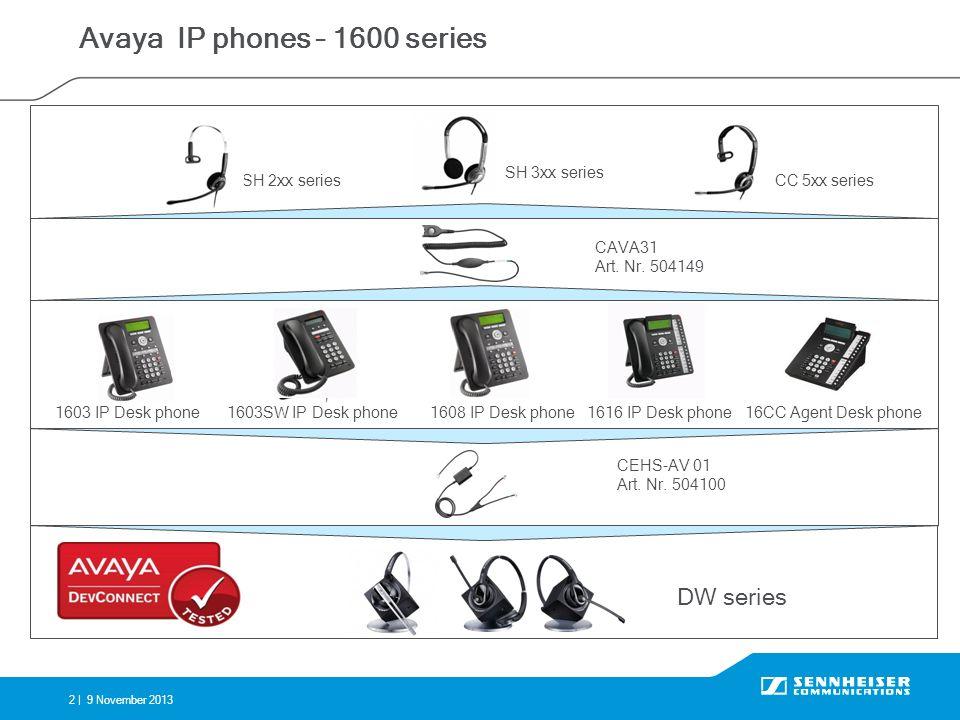 2 |9 November 2013 Avaya IP phones – 1600 series 1603 IP Desk phone16CC Agent Desk phone1616 IP Desk phone1608 IP Desk phone CEHS-AV 01 Art. Nr. 50410