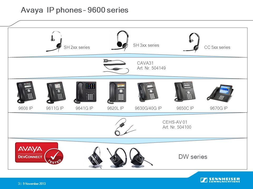 3 |9 November 2013 Avaya IP phones – 9600 series 9608 IP9670G IP9620L IP9641G IP CEHS-AV 01 Art. Nr. 504100 SH 2xx series SH 3xx series CC 5xx series