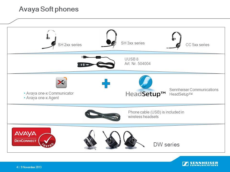 4 |9 November 2013 Avaya Soft phones Phone cable (USB) is included in wireless headsets SH 2xx series SH 3xx series CC 5xx series UUSB 8 Art. Nr. 5040