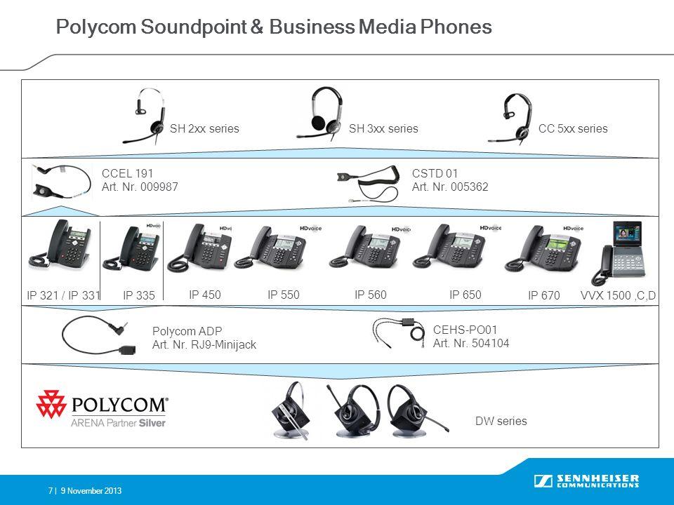 7 |9 November 2013 Polycom Soundpoint & Business Media Phones IP 321 / IP 331IP 335 IP 450IP 550 IP 670 IP 650IP 560 VVX 1500,C,D CEHS-PO01 Art. Nr. 5