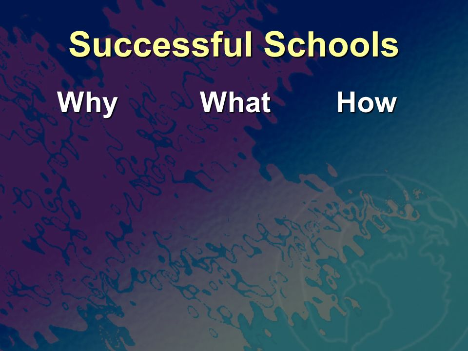 Successful Schools Why Why What What How How