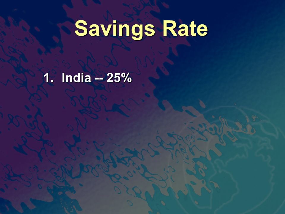 Savings Rate 1. India -- 25%