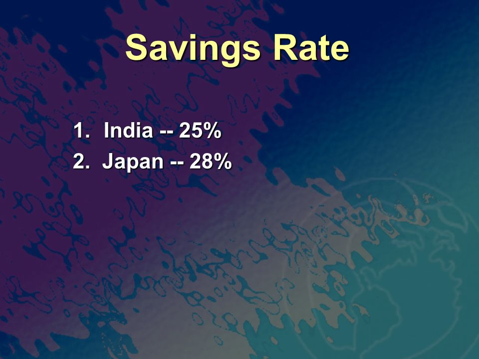 Savings Rate 1. India -- 25% 2. Japan -- 28%