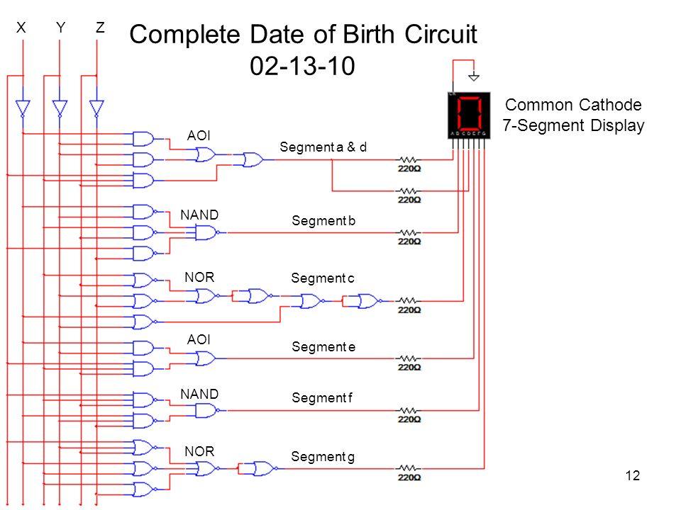X Y Z Segment a & d Segment b Segment c Complete Date of Birth Circuit 02-13-10 Segment e Segment f Segment g AOI NAND NOR NAND AOI NOR Common Cathode