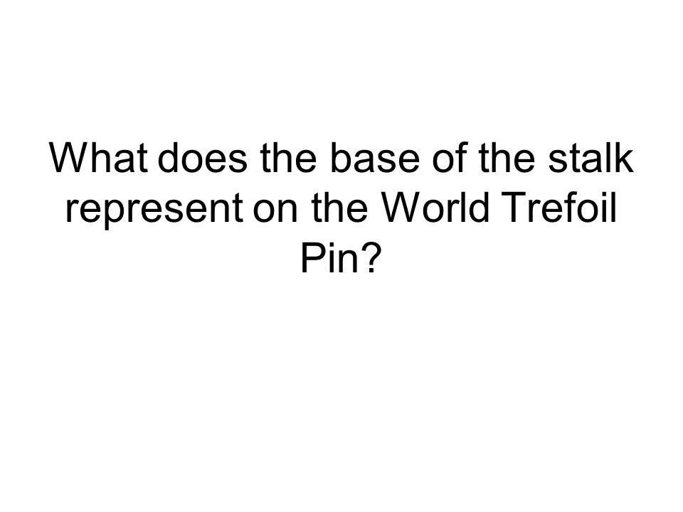 What does the base of the stalk represent on the World Trefoil Pin