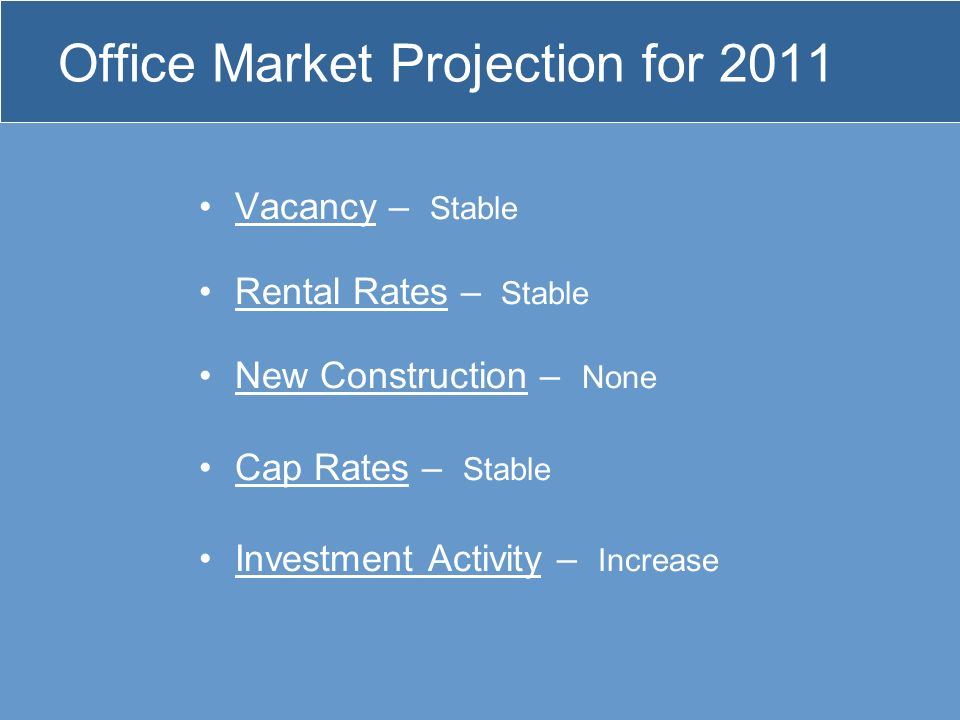 Office Market Projection for 2011 Vacancy – Stable Rental Rates – Stable New Construction – None Cap Rates – Stable Investment Activity – Increase
