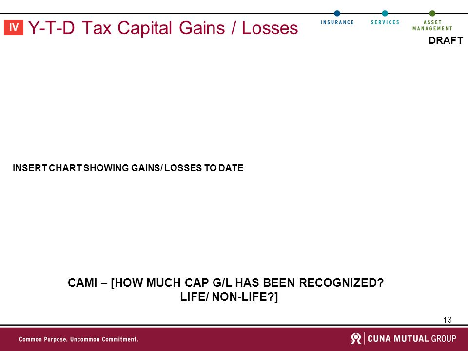 13 DRAFT Y-T-D Tax Capital Gains / Losses INSERT CHART SHOWING GAINS/ LOSSES TO DATE IV CAMI – [HOW MUCH CAP G/L HAS BEEN RECOGNIZED.