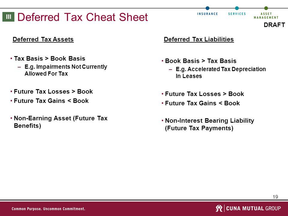 19 DRAFT Deferred Tax Cheat Sheet Tax Basis > Book Basis –E.g.