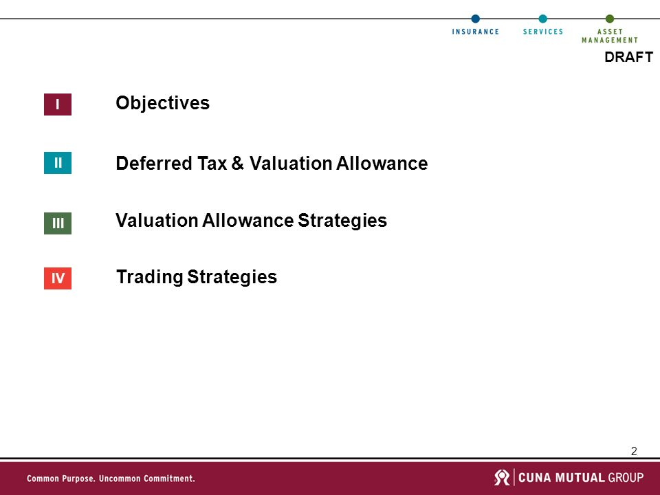 3 DRAFT Objectives Utilize Capital Loss Carryovers Manage & Reduce Valuation Allowance Risk On Deferred Tax Assets Minimize Cash Taxes On 2010 Gains Taking Strategy Increase Surplus By Reducing Non-Admitted Deferred Tax Assets I [TROY-VERIFY WITH JERRY] 1 2 3 4 Through Regular Communication & Shared Ownership For Outcomes