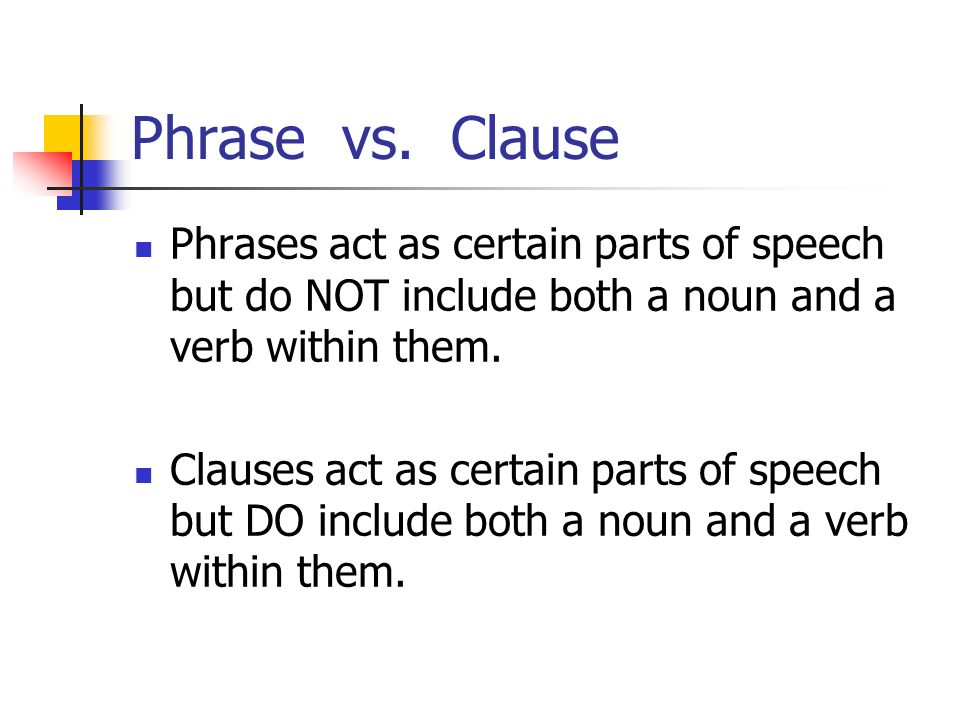 Phrase vs. Clause Phrases act as certain parts of speech but do NOT include both a noun and a verb within them. Clauses act as certain parts of speech