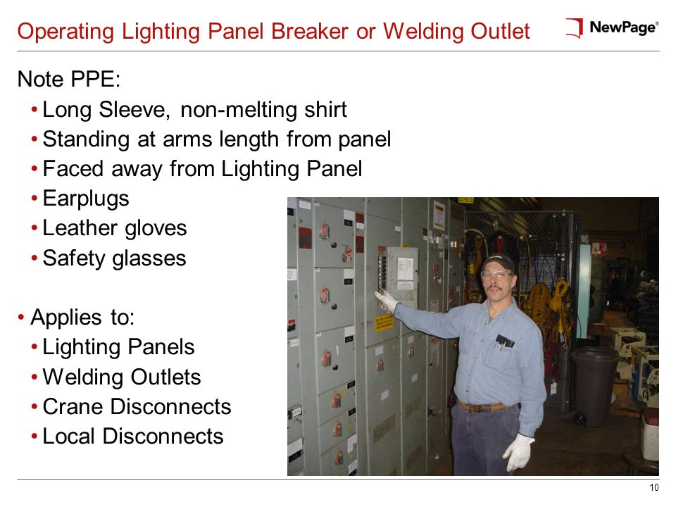 10 Operating Lighting Panel Breaker or Welding Outlet Note PPE: Long Sleeve, non-melting shirt Standing at arms length from panel Faced away from Ligh