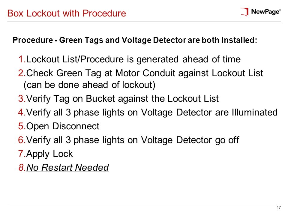 17 Box Lockout with Procedure Procedure - Green Tags and Voltage Detector are both Installed: 1.Lockout List/Procedure is generated ahead of time 2.Ch