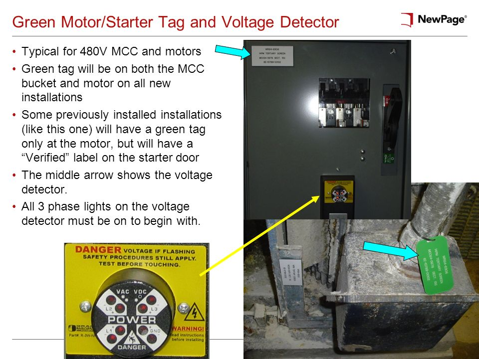 Green Motor/Starter Tag and Voltage Detector Typical for 480V MCC and motors Green tag will be on both the MCC bucket and motor on all new installatio