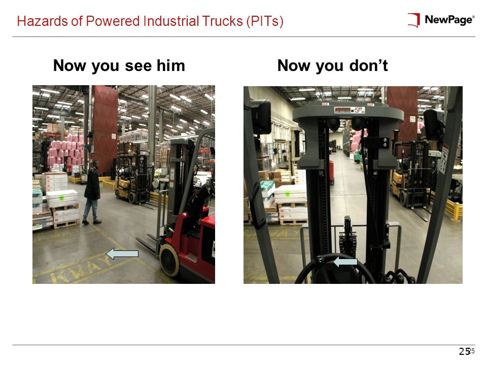 25 Hazards of Powered Industrial Trucks (PITs) Now you see himNow you dont