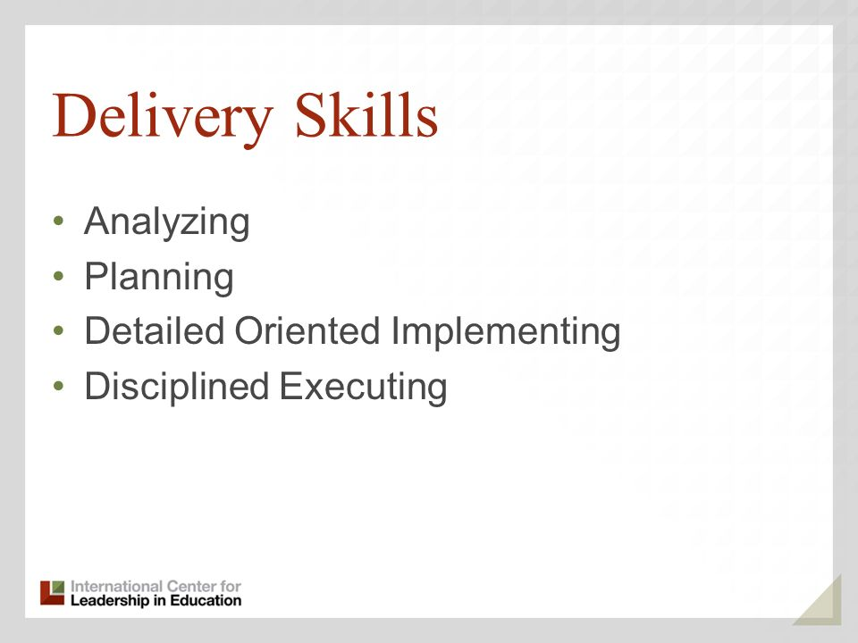 Delivery Skills Analyzing Planning Detailed Oriented Implementing Disciplined Executing