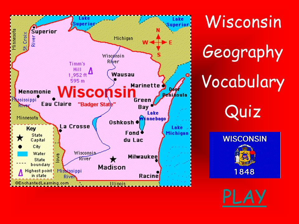 Wisconsin Geography Vocabulary Quiz PLAY