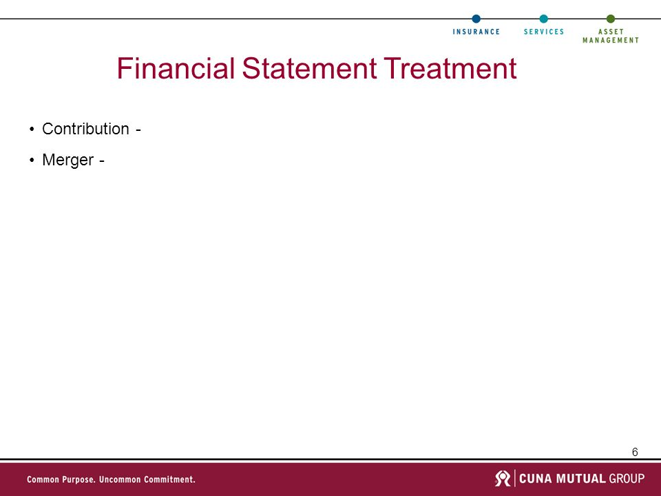 6 Financial Statement Treatment Contribution - Merger -