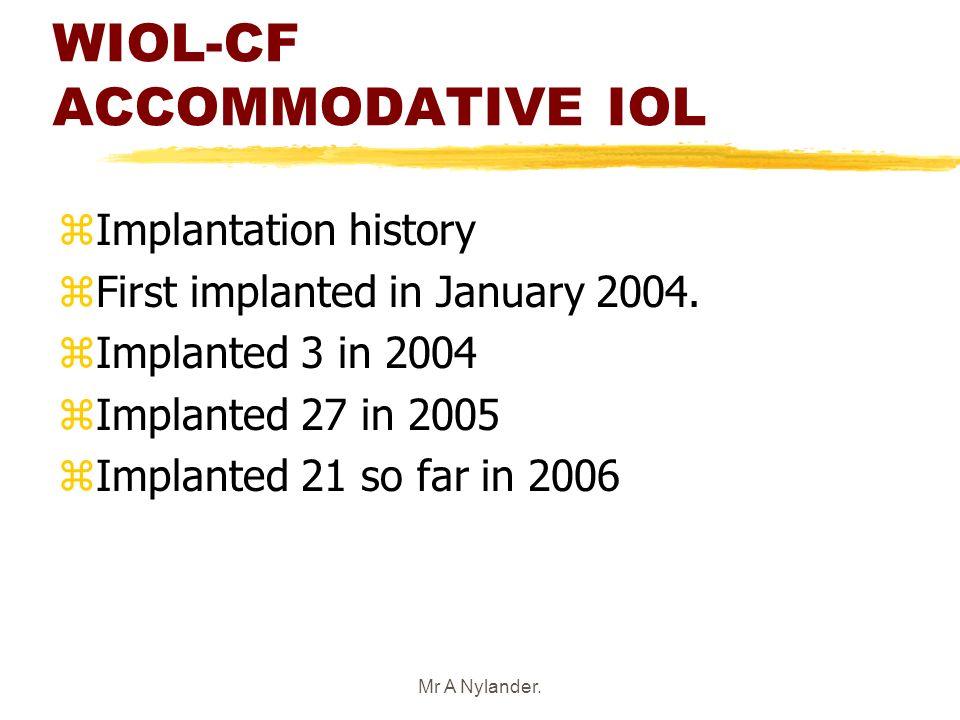 Mr A Nylander. WIOL-CF ACCOMMODATIVE IOL zImplantation history zFirst implanted in January 2004. zImplanted 3 in 2004 zImplanted 27 in 2005 zImplanted