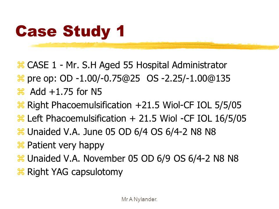 Mr A Nylander. Case Study 1 zCASE 1 - Mr. S.H Aged 55 Hospital Administrator zpre op: OD -1.00/-0.75@25 OS -2.25/-1.00@135 z Add +1.75 for N5 zRight P