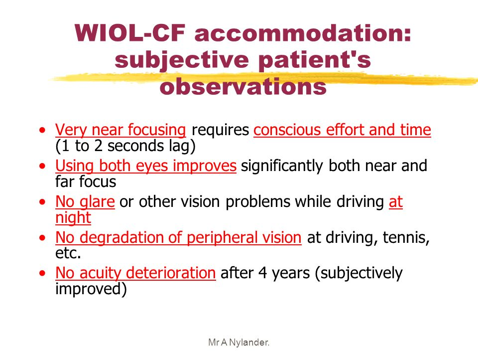 Mr A Nylander. WIOL-CF accommodation: subjective patient's observations Very near focusing requires conscious effort and time (1 to 2 seconds lag) Usi
