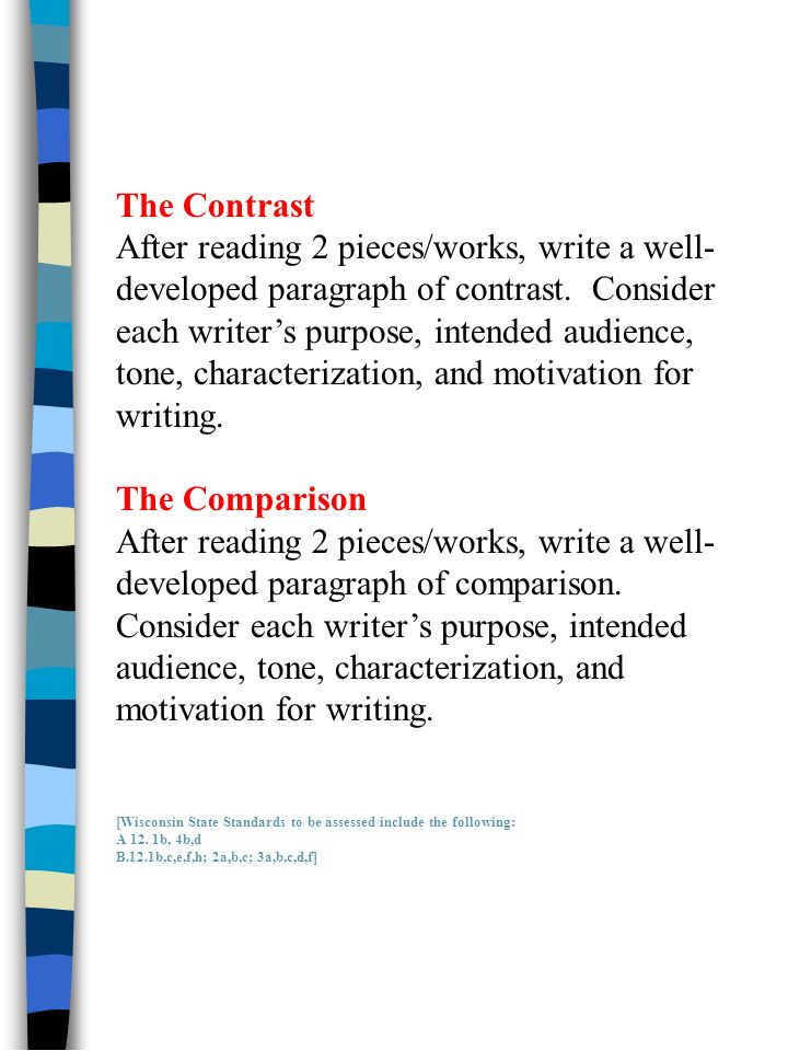 The Contrast After reading 2 pieces/works, write a well- developed paragraph of contrast.