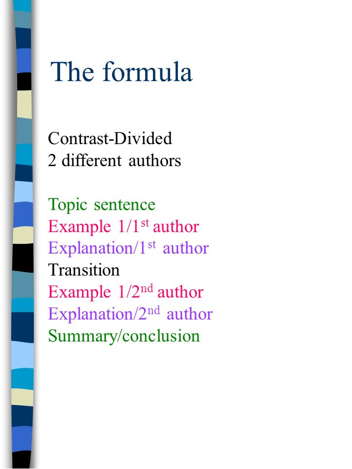 The formula Contrast-Divided 2 different authors Topic sentence Example 1/1 st author Explanation/1 st author Transition Example 1/2 nd author Explanation/2 nd author Summary/conclusion