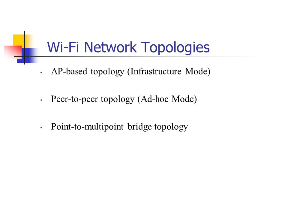 Wi-Fi Network Topologies AP-based topology (Infrastructure Mode) Peer-to-peer topology (Ad-hoc Mode) Point-to-multipoint bridge topology