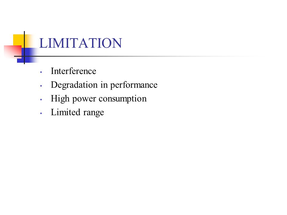 LIMITATION Interference Degradation in performance High power consumption Limited range
