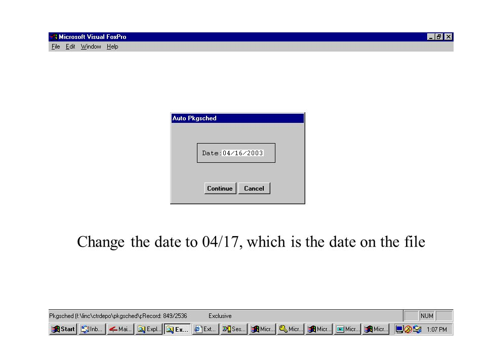 Change the date to 04/17, which is the date on the file