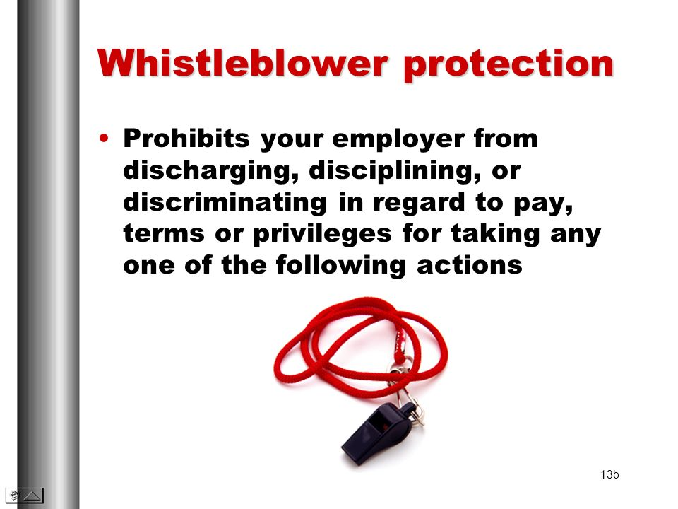 Whistleblower protection Prohibits your employer from discharging, disciplining, or discriminating in regard to pay, terms or privileges for taking an