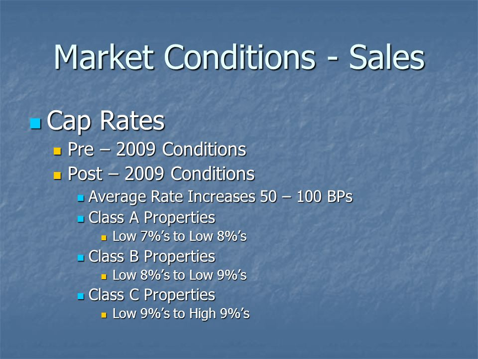 Market Conditions - Sales Cap Rates Cap Rates Pre – 2009 Conditions Pre – 2009 Conditions Post – 2009 Conditions Post – 2009 Conditions Average Rate Increases 50 – 100 BPs Average Rate Increases 50 – 100 BPs Class A Properties Class A Properties Low 7%s to Low 8%s Low 7%s to Low 8%s Class B Properties Class B Properties Low 8%s to Low 9%s Low 8%s to Low 9%s Class C Properties Class C Properties Low 9%s to High 9%s Low 9%s to High 9%s