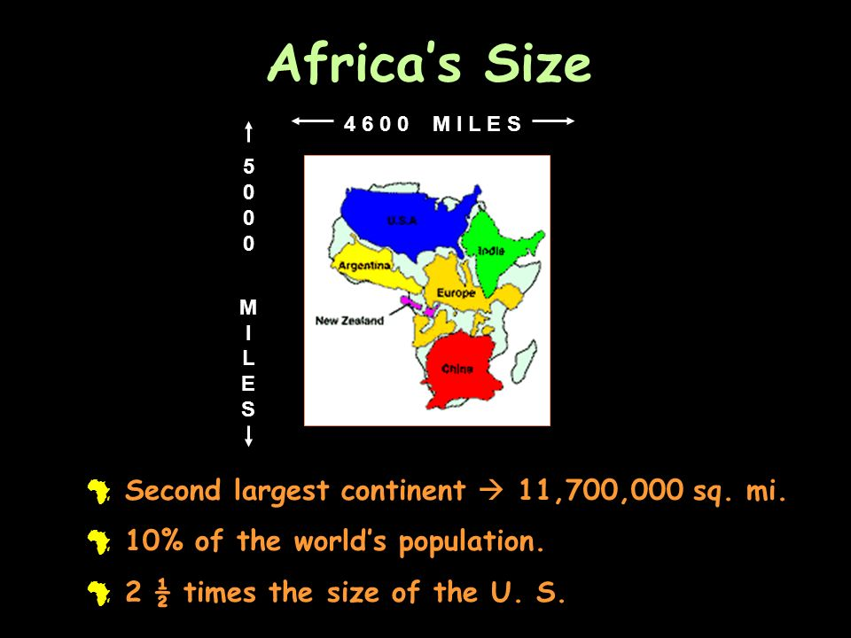 Africas Size # Second largest continent 11,700,000 sq. mi. # 10% of the worlds population. # 2 ½ times the size of the U. S. 5000MILES5000MILES 4 6 0