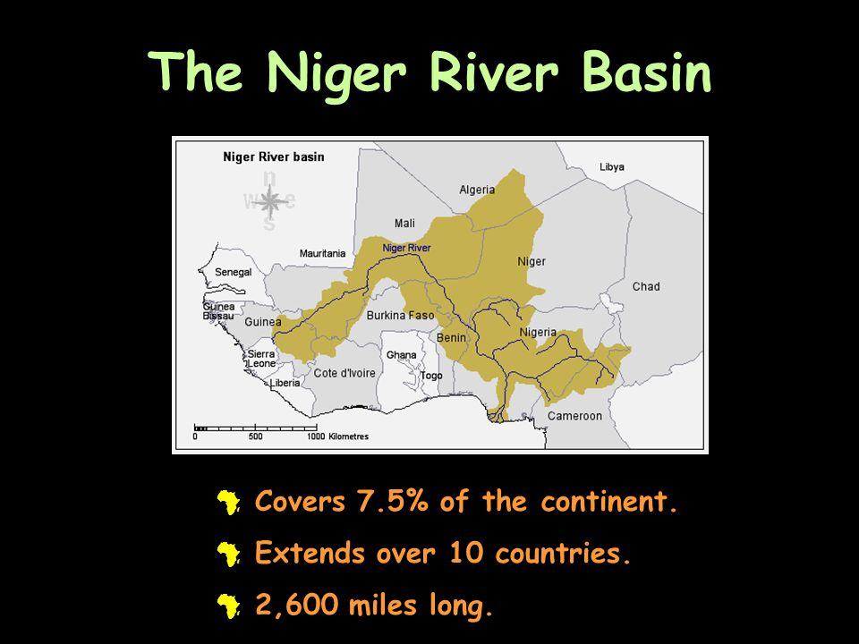 The Niger River Basin # Covers 7.5% of the continent. # Extends over 10 countries. # 2,600 miles long.