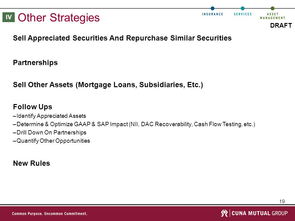 19 DRAFT Other Strategies Sell Appreciated Securities And Repurchase Similar Securities IV Partnerships Sell Other Assets (Mortgage Loans, Subsidiaries, Etc.) Follow Ups –Identify Appreciated Assets –Determine & Optimize GAAP & SAP Impact (NII, DAC Recoverability, Cash Flow Testing, etc.) –Drill Down On Partnerships –Quantify Other Opportunities New Rules