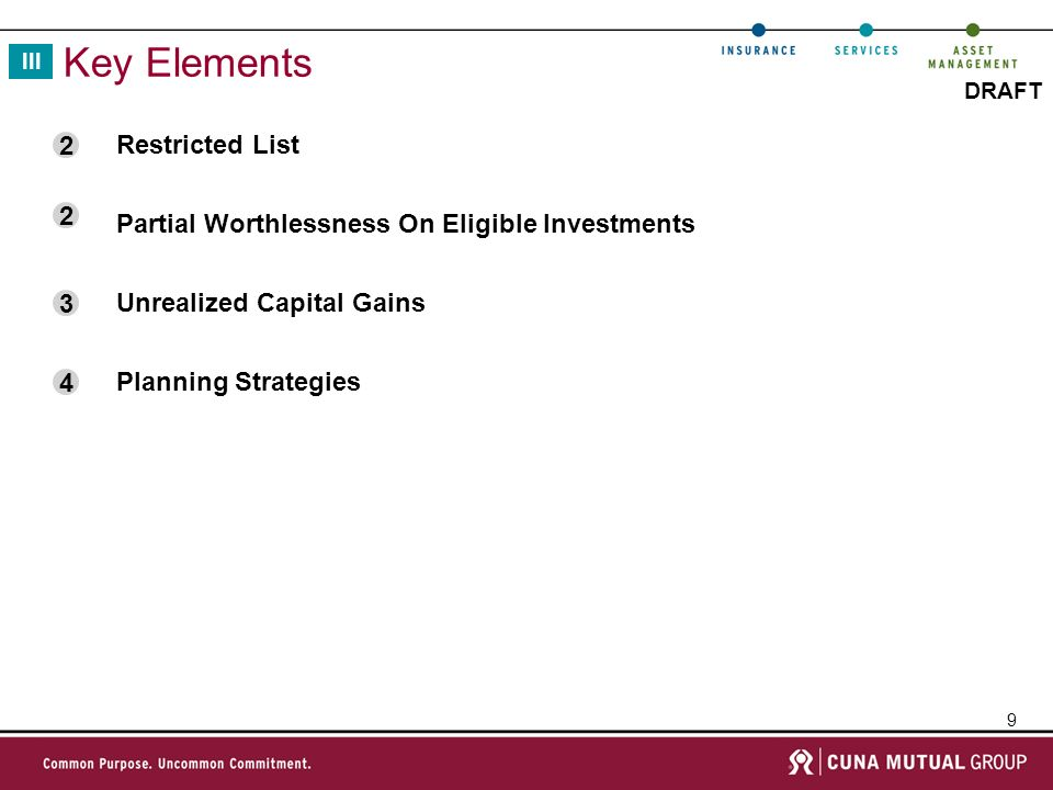 9 DRAFT Key Elements III Restricted List Partial Worthlessness On Eligible Investments Unrealized Capital Gains Planning Strategies 2 2 3 4