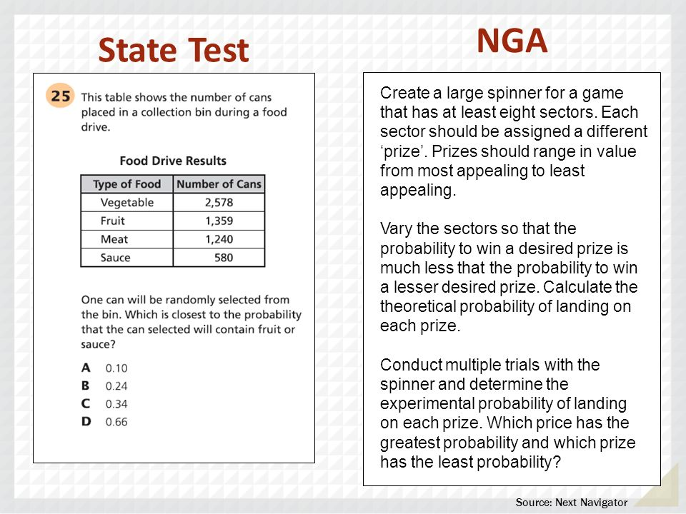State Test Create a large spinner for a game that has at least eight sectors. Each sector should be assigned a different prize. Prizes should range in