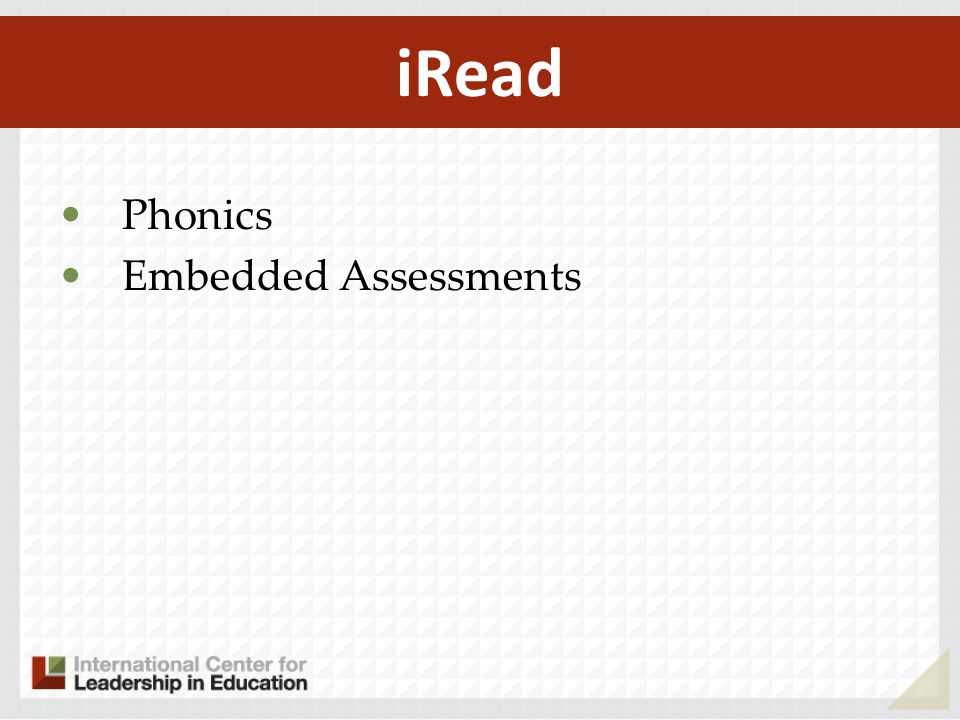 Phonics Embedded Assessments iRead